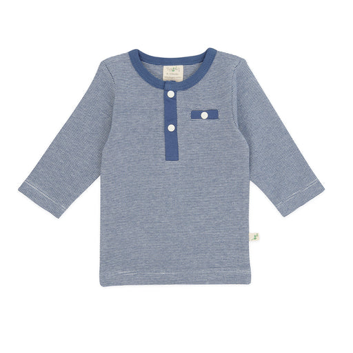 Tiny Twig - Henley Long Sleeve Tee - Saphire Stripes