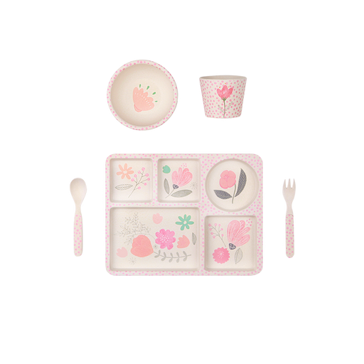 Love Mae - 5 Piece Bamboo Dinner Set - Flower Garden