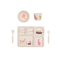 Love Mae - 5 Piece Bamboo Dinner Set - Woodland Tea Party