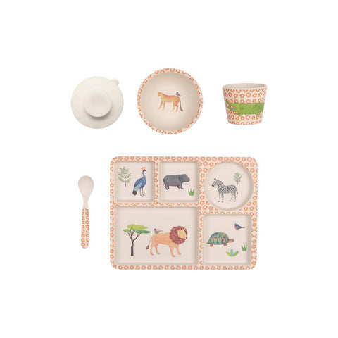 Love Mae - Bamboo Divided Plate Set On Safari - Eco Child