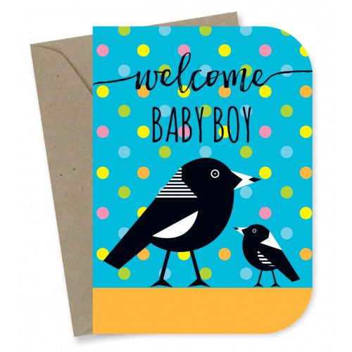 Earth Greetings - 100% Earth Friendly Gift Cards - Baby Boy Magpies