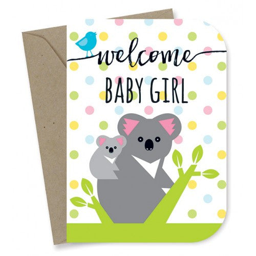 Earth Greetings - 100% Earth Friendly Gift Cards - New Baby Girl - Koalas