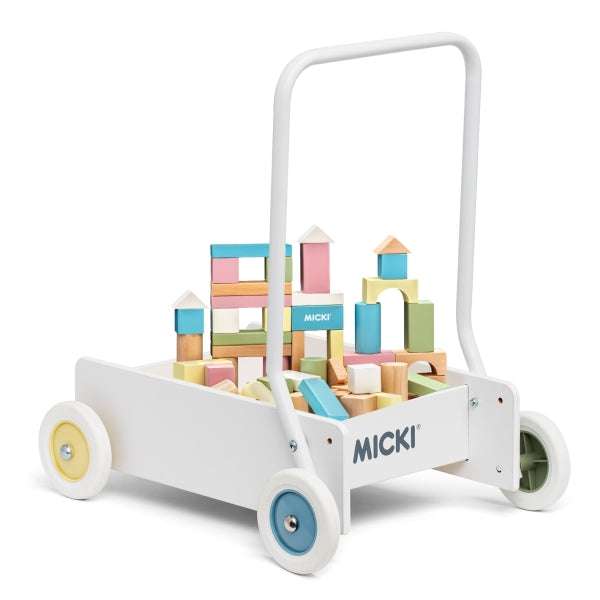 Micki -Baby Walker with blocks - Pastel