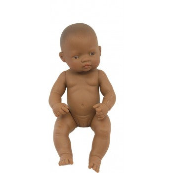 Miniland - Anatomically Correct Baby Doll  - Latin American Girl 32cm (Undressed) - Eco Child