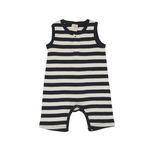 Nature Baby - Henley Singlet Suit - Wide Navy Stripe