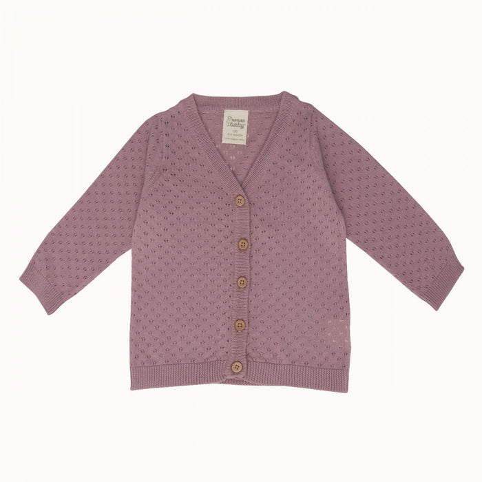 Nature Baby - Light Cotton Knit Cardigan - Woodrose Pointelle