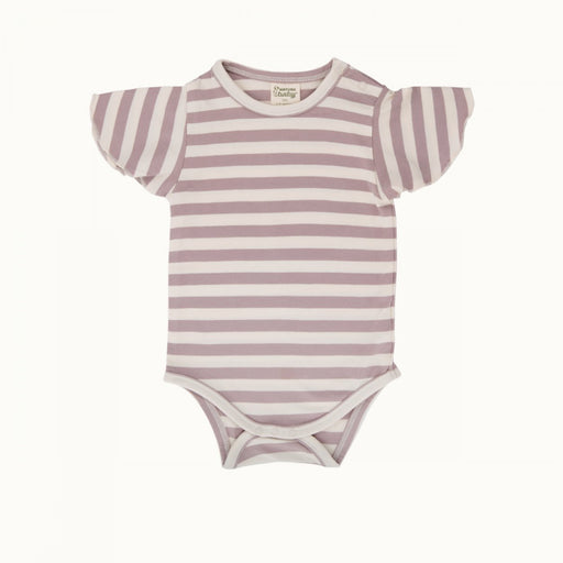 Nature Baby - Petal Sleeve Bodysuit - Lilac Sea Stripe