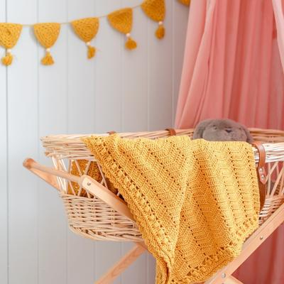 OB Designs - Crochet Baby Blanket - Handmade Turmeric - Eco Child