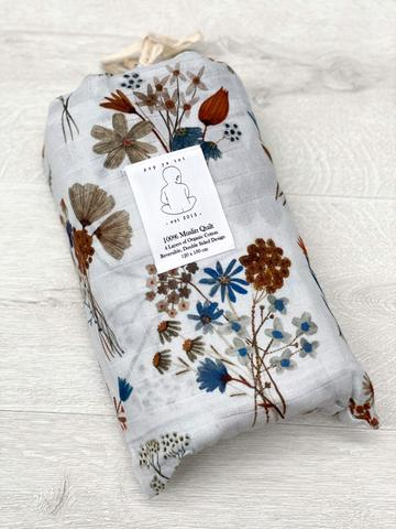Pop Ya Tot - A Little Posy 100% Organic Cotton - Reversible Cot Quilt - Eco Child