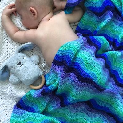 OB Designs - Crochet Baby Blanket - Handmade Blue - Eco Child