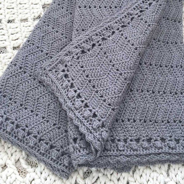 OB Designs - Crochet Baby Blanket - Handmade Grey - Eco Child