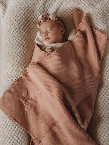 PoP Ya Tot - Heirloom Embroidered Blanket - 100% Cotton Rose - Eco Child