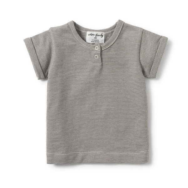 Wilson and Frenchy - Placket Tee - Charcoal Stripe