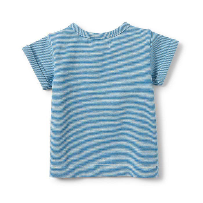 Wilson and Frenchy - Placket Tee - Mediterranean Blue Stripe