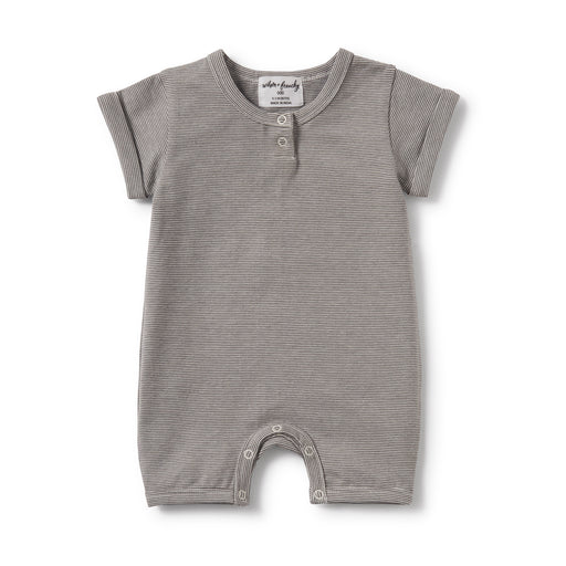 Wilson and Frenchy - Placket Detail Growsuit - Charcoal Stripe