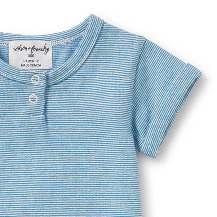 Wilson and Frenchy - Placket Detail Growsuit - Mediterranean Blue Stripe