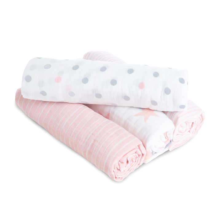 ADEN by Aden and Anais -Muslin Cotton Swaddle 4 Pack - Doll