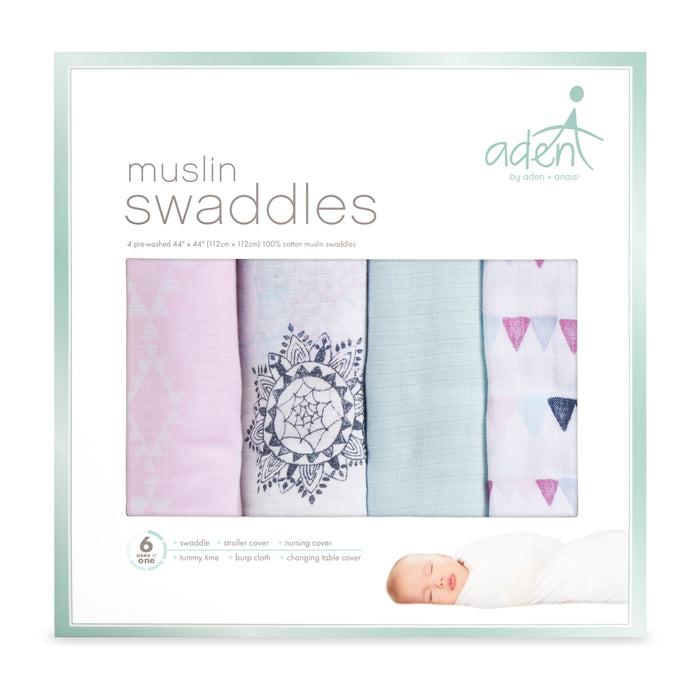 ADEN by Aden and Anais -Muslin Cotton Swaddle 4 Pack - Pretty Pink