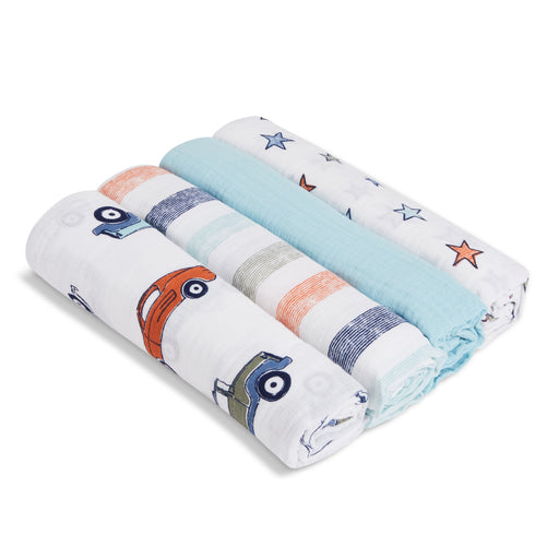 ADEN by Aden and Anais -Muslin Cotton Swaddle 4 Pack - Hit the Road