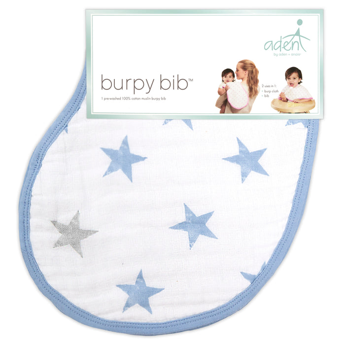 ADEN by Aden and Anais - Muslin Cotton Burpy Bib - Dapper/Stars