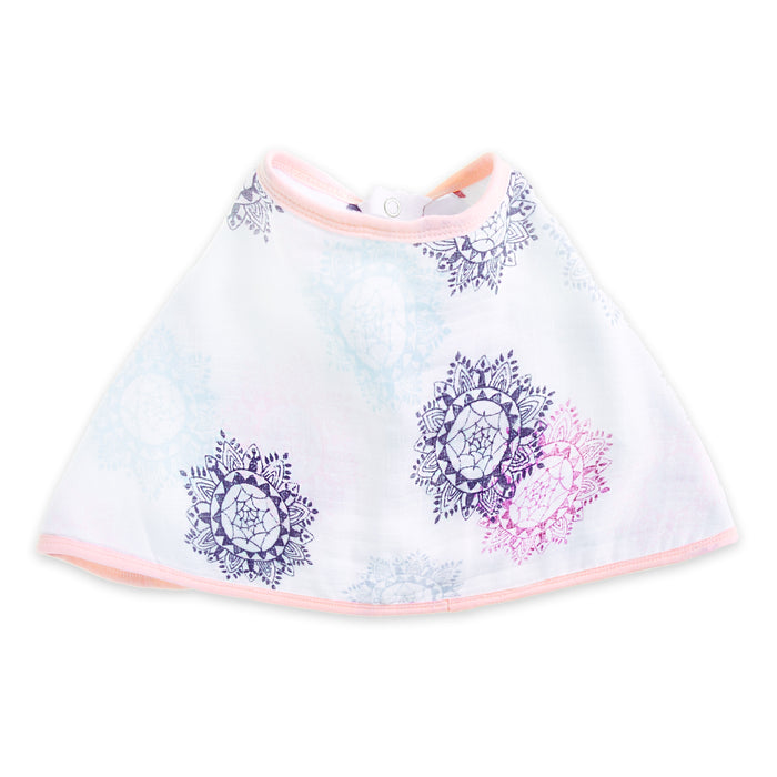 ADEN by Aden and Anais - Muslin Cotton Burpy Bib - Pretty Pink/Medallion