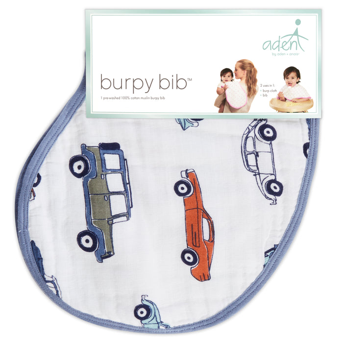 ADEN by Aden and Anais - Muslin Cotton Burpy Bib - Hit the Road