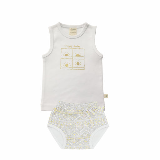 Tiny Twig - Singlet Set - White/Tiny Tribal