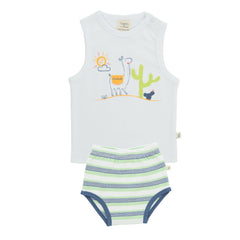 Tiny Twig - Singlet Set - Lama/Cactus Stripes