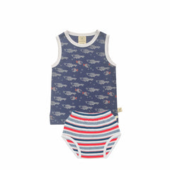 Tiny Twig - Singlet Set - Fish/Mariner Stripes