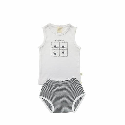 Tiny Twig - Singlet Set - White/Graphite Stripes