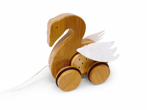Kinderfeet - Pull Toy Swan - Bamboo - Eco Child