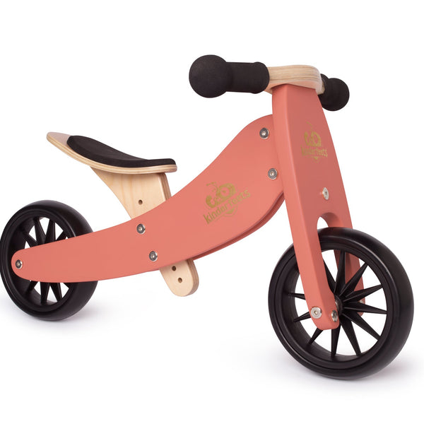 Kinderfeets - Tiny Tot 2 in 1 Tricycle/Balance Bike - Coral - Eco Child