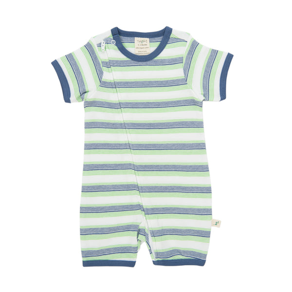 Tiny Twig - Short Sleeve Zipsuit - Cactus Stripe