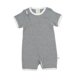 Tiny Twig - Short Sleeve Zipsuit - Graphite Stripes