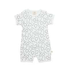 Tiny Twig - Short Sleeve Zipsuit - Love Print