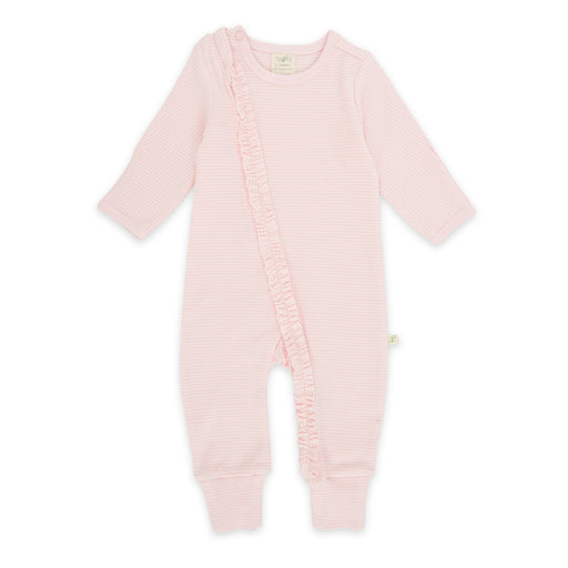 Tiny Twig - Long Sleeve Frill Zipsuit - Pink Stripes