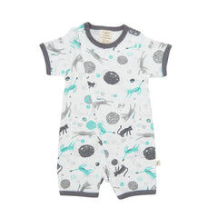 Tiny Twig - Short Sleeve Zipsuit - Space Cat
