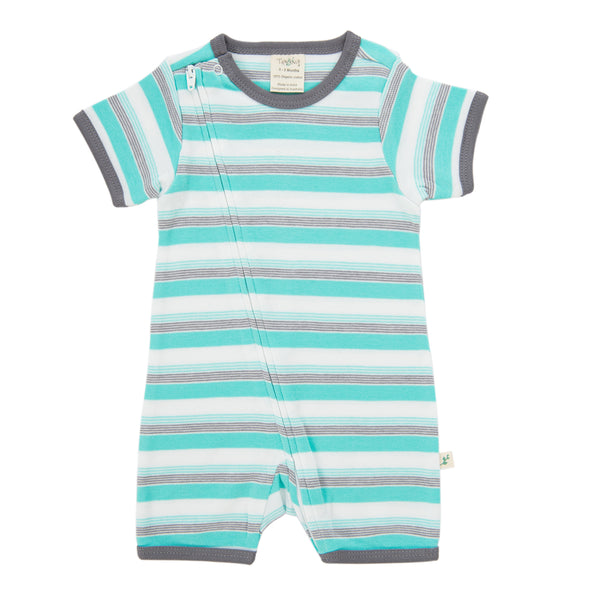 Tiny Twig - Short Sleeve Zipsuit - Space Stripes
