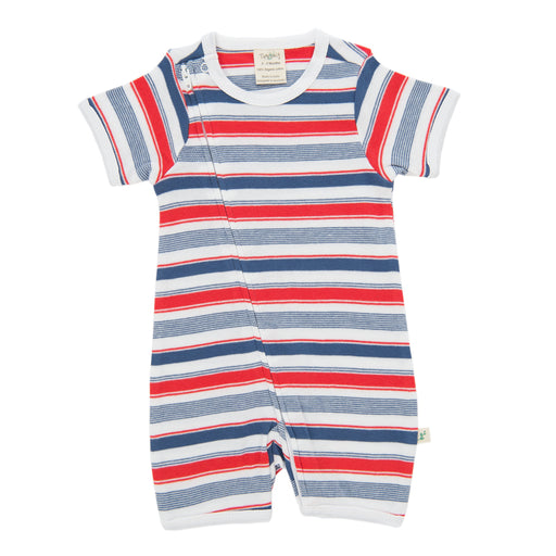 Tiny Twig - Short Sleeve Zipsuit - Mariner Stripes