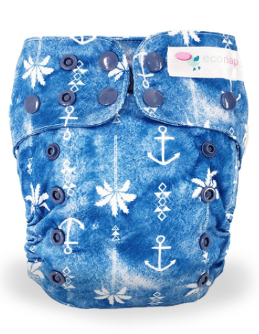EcoNaps - Reusable Modern Cloth Nappy - Anchor Palm