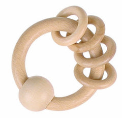 Heimess - Wooden Rattles - Natural Four Rings