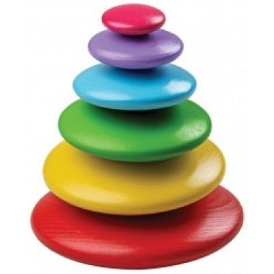 Bigjigs Toys - Wooden Stacking Rainblow Pebbles - Eco Child