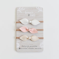 "Bonnie & Harlo - ""Bonnie"" Bow Headbands - 3pk White/Blush/Cream"