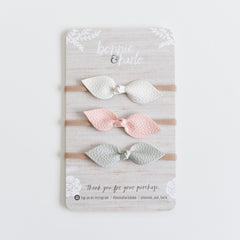 "Bonnie & Harlo - ""Bonnie"" Bow Headbands - 3pk White/Blush/Grey"