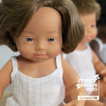 Miniland - Anatomically Correct Baby Doll - Caucasian Girl Down Syndrome 38cm - Eco Child