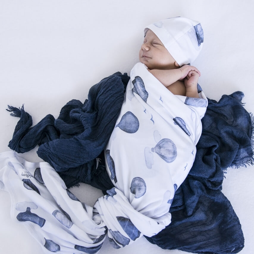 Snuggle Hunny Kids - Cloud Chaser Jersey Wrap & Beanie Set - Eco Child
