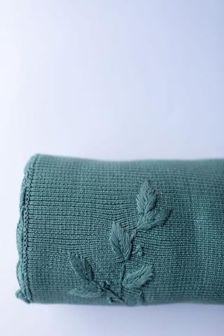 PoP Ya Tot - Heirloom Embroidered Blanket - 100% Cotton Teal - Eco Child