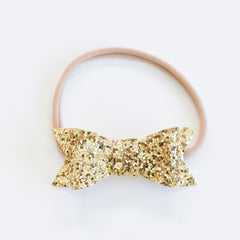 "Bonnie & Harlo - ""Harlo"" Bow Single Headband - Gold Glitter"