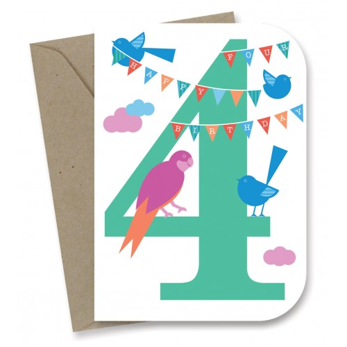 Earth Greetings - 100% Earth Friendly Gift Cards - 4th Birthday Sky Party - Eco Child