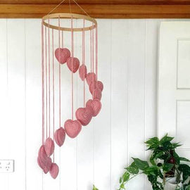 OB Designs - Hand Crochet Baby Mobile in Hearts -Pink Heart Mobile - Eco Child